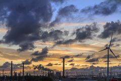 Industrial Skyline at Dusk Royalty Free Stock Images