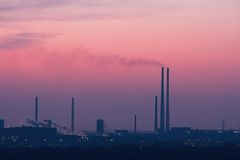 Industrial Skyline after Sunset Stock Images