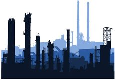 Industrial skylines (blue). Vector of industrial skyline in blue siluettes Royalty Free Stock Images
