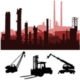 Industrial skylines and machines. Vector of industrial skyline and industrial machines in siluettes Stock Images