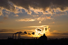 Industrial smoke and clouds Stock Images