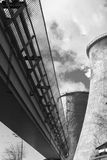 Industrial smoke stack of coal power plant Stock Photo