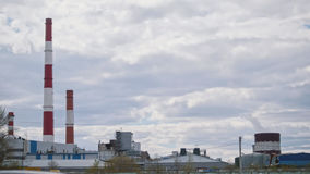 Industrial Smoke from tube of thermal power station - autumn Cloudy Day Royalty Free Stock Photos