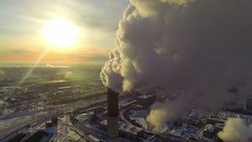 Industrial Smokes. Aerial. stock video footage