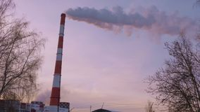 Industrial smoking chimney on background winter cloudy sky and bare trees. Smoke air emissions from industrial boiler pipes in winter sky stock video