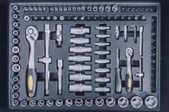 Industrial Socket Set inside Toolbox, Ratchet Socket Kit. Tools Set stock photography