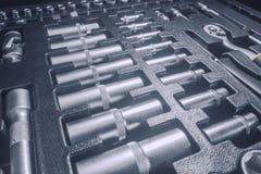 Industrial Socket Set inside Toolbox, Ratchet Socket Kit. Tools Set stock images