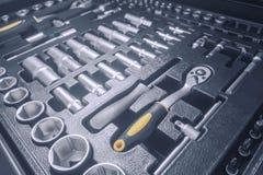 Industrial Socket Set inside Toolbox, Ratchet Socket Kit. Tools Set royalty free stock photo