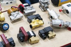Industrial solenoid valve for liquid, oil, air, pneumatic, hydra royalty free stock image
