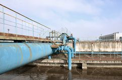 Industrial space with lots of pipes and communications on a background of blue sky. old water treatment plant on the city`s wate. R supply enterprise. Kharkov Stock Photos