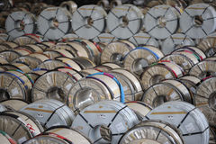 Industrial spool storage Royalty Free Stock Image
