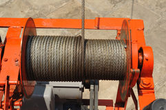 Industrial stage winch for construction. Stock Photo