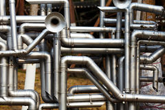 Industrial stainless steel pipe work Royalty Free Stock Photo