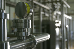 Industrial stainless steel pipe work Royalty Free Stock Images