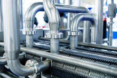 Free Industrial Stainless Steel Piping Connected By Special Nuts. Stock Image - 179823501