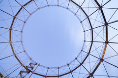 Industrial stairway to heaven. Minimalistic photo of part of huge steel construction Royalty Free Stock Images