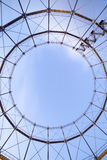 Industrial stairway to heaven. Minimalistic photo of part of huge steel construction Royalty Free Stock Photography