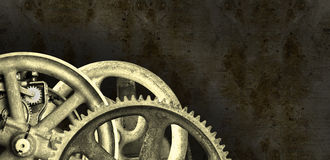 Industrial Steampunk Machine Banner Background. Background grunge banner with an industrial steampunk design. The mechanical parts are derived from real stock photography