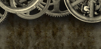 Industrial Steampunk Machine Banner Background. Background grunge banner with an industrial steampunk design. The mechanical parts are derived from real stock image
