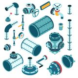 Industrial steampunk spare parts for assembling apparatus. Machine - pipe, flange, fitting, body, valve, splitter, lever, handle and so on. 3d isometric vector stock illustration