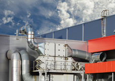Industrial steel air conditioning and ventilation Stock Images