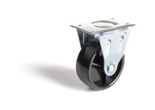 Industrial steel caster. On a white background royalty free stock photo