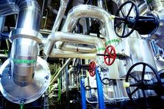 Industrial Steel pipelines in blue tones Stock Images