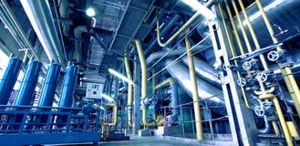 Industrial Steel pipelines in blue tones Stock Image