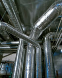 Industrial Steel pipelines and ducts Stock Image