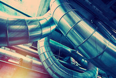 Industrial Steel pipelines and equipment Stock Images
