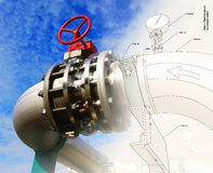 Industrial Steel pipelines valves against blue sky Royalty Free Stock Image
