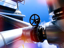 Industrial Steel pipelines and valves against blue sky Royalty Free Stock Photography