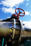 Industrial Steel pipelines valves blue sky Royalty Free Stock Images