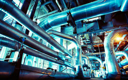 Industrial  Steel pipelines, valves and ladders Royalty Free Stock Photos