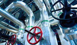 Industrial  Steel pipelines, valves and ladders Stock Image
