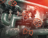 Industrial Steel pipelines and valves Royalty Free Stock Image