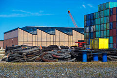 Industrial steel ropes in cargo terminal of Rotterdam Port Royalty Free Stock Photography