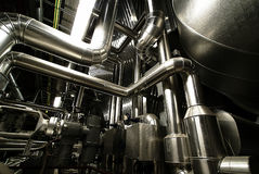 Industrial steel shiny pipelines valves insulation Royalty Free Stock Photography