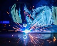 Industrial steel welder in factory technical, Royalty Free Stock Photo