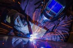Industrial steel welder in factory technical, Stock Photo