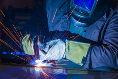 Industrial steel welder in factory technical, Royalty Free Stock Images