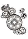 Industrial still life - arrangement of gears, Stock Images