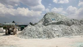Car glass recycling plant Stock Photos