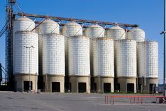 INDUSTRIAL STORAGE METALLIC TANKS Stock Photos