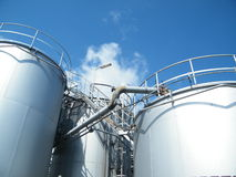 Industrial Storage Tanks. Storage tanks on an industrial chemical plant Royalty Free Stock Images