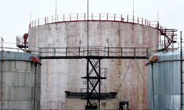Industrial Storage Tanks With A Latter Access Royalty Free Stock Photo
