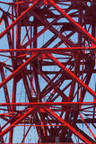 Industrial structure of big crane. Against blue sky Royalty Free Stock Photo