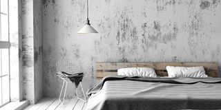 A industrial style bedroom with recycled pallet bed. 3D render. A industrial style bedroom with recycled pallet bed. White eco design scheme is bright and stock illustration