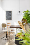 Industrial style open dining room Royalty Free Stock Images