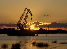 Industrial sunset. In Riga Stock Photo